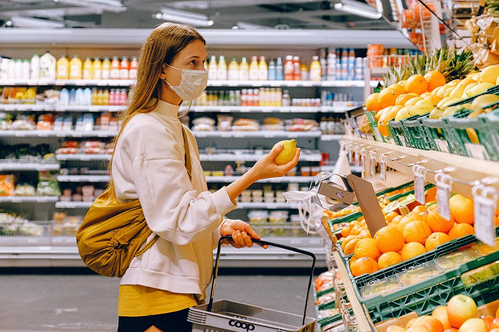 Grocery Face Covering Stock Photo