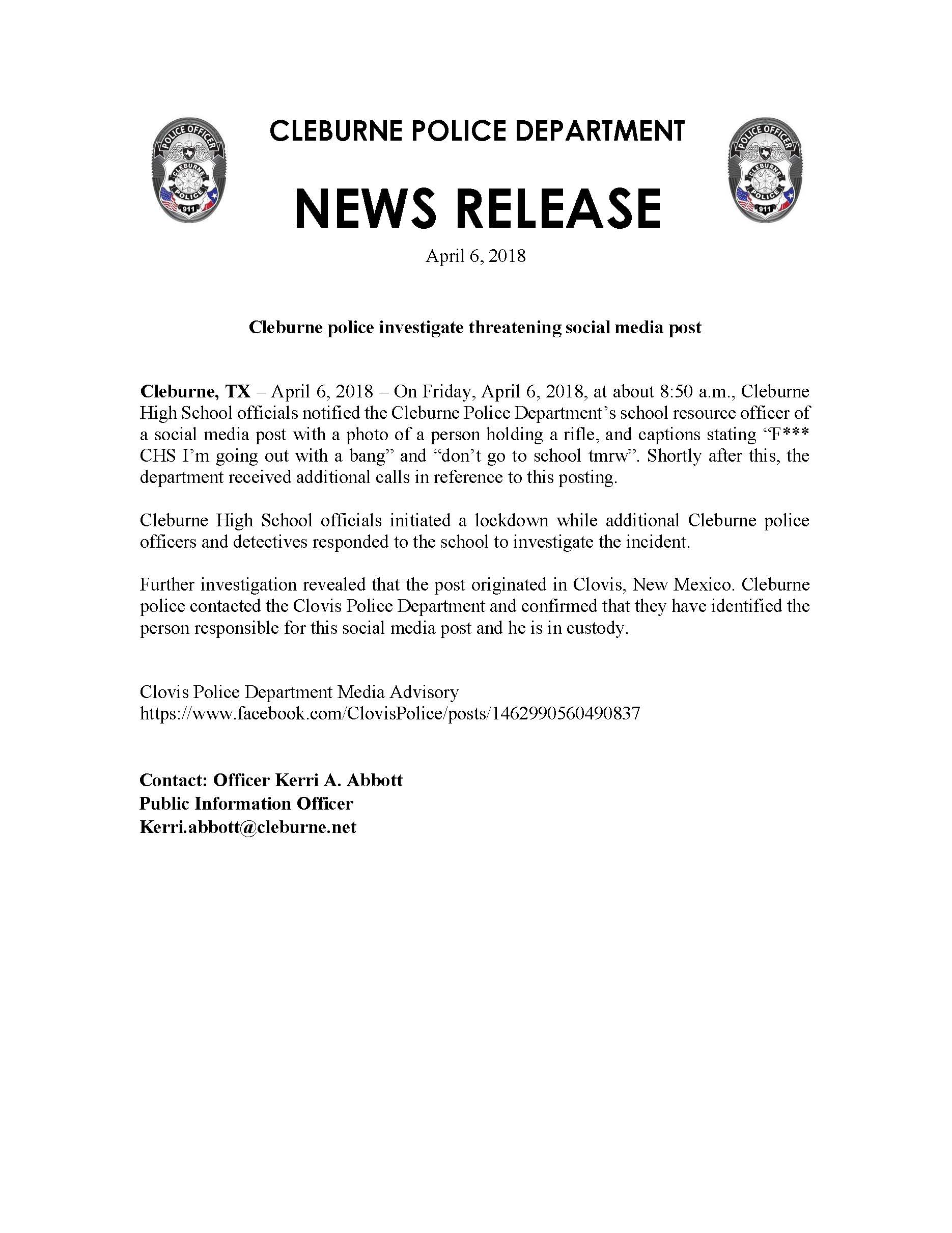 Press Release - CHS Social Media Threat - 04-06-2018
