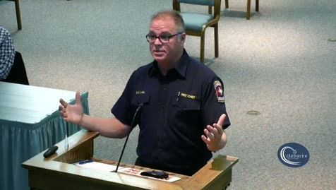 Fire Chief speaking to City Council at podium
