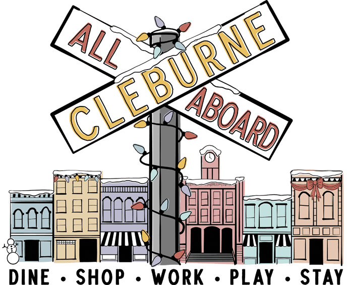 all aboard cleburne winter logo